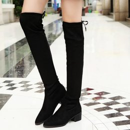 Wholesale Plus Size Over Knee Boots - Wholesale- New 2018 winter leather casual women shoes Martin boots warm snow high boots fashion boots shoes Mujer botas plus size 35-43 D028