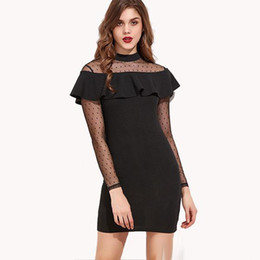 Wholesale turtle neck black lace dress - Ladies Little Black Dress Sexy Sheer Lace Ruffles Party Dress High Neck Long Sleeve Short Cocktail Evening Dresses Mini