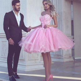 Wholesale little girls dresses size 16 - Charming Pink Ball Gown Homecoming Dresses 2017 Sweetheart Appliques Knee Length Modest Arabic Girls Party Pageant Prom Gowns Cheap Custom