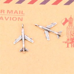 Wholesale Airplane Charms - 130pcs Tibetan Silver Plated plane airplane Charms Pendants for Jewelry Making DIY Handmade Craft 22*14mm