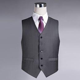 Wholesale Slim Fit Work Suit - Wholesale- 2017 New Arrival Men Slim Fit Grey Vest Formal Business Work Suit Vest