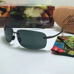 Wholesale Sunglasses Aviators Men - Brand Designer-2017 Maui Jim Sunglasses 422 Breakwall sunglasses Rimless lens MJ men women TR sunglasses driving Aviator with case