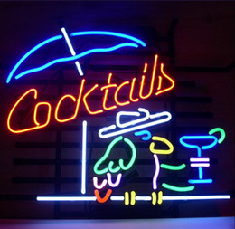 "Luce del neon pappagallo online-COCKTAIL PARROT COCKTAILS Neon Light Sign Beer Bar Pub Club Shop Display 17 ""x14"""
