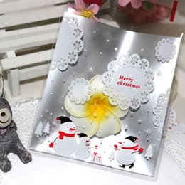 Wholesale Biscuit Holder - Wholesale- 100Pcs Lot Silver Lace Snowflake Snowman Christmas Gifts Bag Holders Bake Cookies Biscuit Candy Gift Packaging Bag