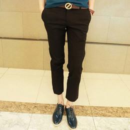Wholesale Men Ivory Dress Pants - Wholesale-Free shipping new 2016 summer men's fashion solid color pants slim fit ankle length dress skinny pants men 12-colors  DK2