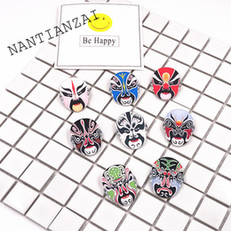 Wholesale Pin Up Kids Wholesale - MOQ=20pcs Free Shipping Cartoon Icons Peking Opera Facial Make-up Badges on Backpack Brooch Pins Clothing Acrylic Badges For Kids Gifts