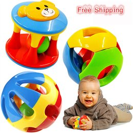 Wholesale Little Plastic Balls - Wholesale- 2pcs Baby Toy Fun Little Loud Jingle Ball,Ring jingle Develop Baby Intelligence,Training Grasping ability Toy For Baby 0-1Year