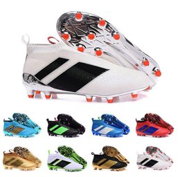 Wholesale Cheap Slip Boots - 2017 Cheap Online ACE 16+ PureControl FG Men Soccer Shoes Boots Slip On Cheap Performance 16 Ace Cleats Football Sneakers 14 Colors New