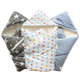 Wholesale Thick Blankets For Babies - Baby Swaddle 90*90cm Baby Blanket Thick Warm Fleece Envelopes For Newborns Infant Wrap Baby Bedding Sleeping