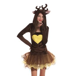 Wholesale Elk Clothes - 2017 Cute Xmas Reindeer elk Cosplay Party Clothing Women Costumes Jumpsuit Anime Fashion Unisex Cosplay Clothes New