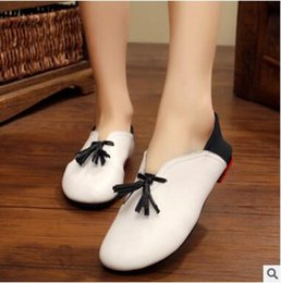 Wholesale Handmade For Head - Naishio handmade shoes, women leather soft soles for pregnant women shoes with a shallow round head flat women's single shoe size