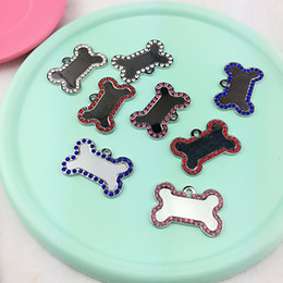 Wholesale Free Dog Names - 20pcs Lot Engraved Pet Dog Tags Custom Cat ID Name Tags for Pets Personalized Bone Shape FREE Gift