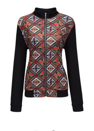 Wholesale New Style Women Outfit - women spring style hot new fashion collection patchwork dashiki printed long sleeve streetwear zipper jackets outfit