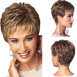 Wholesale Short Hair Wigs Fluffy Synthetic - Women Short Fluffy Golden Brown Wig Synthetic Hair Cosplay Party Wigs High Temperature Fiber Hair For Fashion European American Ladies
