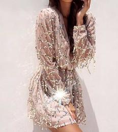 Wholesale Dresses Fringes - Upmarket Europe and the United States women's new nightclub fashion fringe sequins lantern sleeve v-neck sexy dress skirt