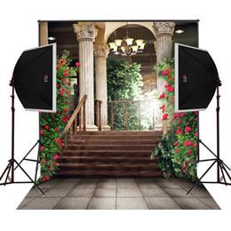Balkon Gallary Garten blüht szenische Fotografie Kulissen für Hochzeit Kamera fotografica digitale Tuch Studio Prop Foto Hintergrund Vinyl von Fabrikanten