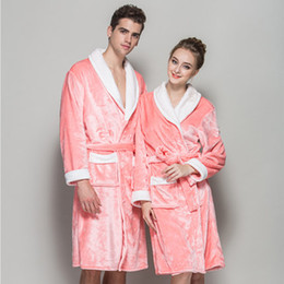Wholesale Fleece Pajamas Men - Wholesale- 2016 Winter Couples Pajamas Robe Lovers Sleepwear Coral Fleece Flannel Bathrobes Robes Men Women Thickening Bath Robes A345