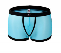 Wholesale See Through Mens Boxer - Underwear men sexy transparant Mesh gauze Mens lace panties thongs Male shorts See through Sheer silk gay string Bikini sex Boxer shorts