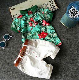Wholesale cartoon characters suits - Kids 2 Color fashion INS boy stripe flower belt suits Summer children cartoon Short sleeve T-shirt +shorts 2pcs suits baby clothes B