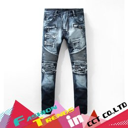 Wholesale High Waist Distressed Jeans - Wholesale-Fall Winter Homme Distressed High Waist Regular Straight Jeans Men Patchwork Trousers Man Full Length Pants Pantalones vaqueros