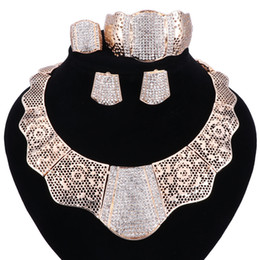 Wholesale Gold Plated Bangle Earrings - sale 2017 Bling-Bling Gold Fashion Jewelry Sets ,Chunky Necklace Bangle Black Women Costume Jewelry Set & More