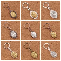 Wholesale Cross Chain Ring - 12pcs lot Our Lady of Guadalupe 2inch Icon Metal Blessed Mother Key Ring Travel Protection Key Chain K1740 12colors