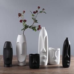 vaso di forma umana creativa astratta per la decorazione di nozze vaso in ceramica bianco e nero vaso 04 da