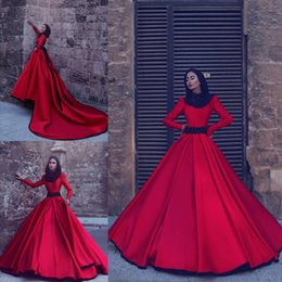 Wholesale Empire Evening Sleeves Gown - Burgundy Red Long Sleeves Muslim Prom Dresses 2017 Arabic New Arrival Formal Evening Gowns Jewel Red A-line Evening Wear with Sweep Train