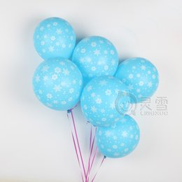 Wholesale Balloons Latex Printing - 100pcs High Quality Globos Printed Snowflake Pearl Blue Sliver Latex Balloons 12inch for Christmas Day Decoration Winter Snow