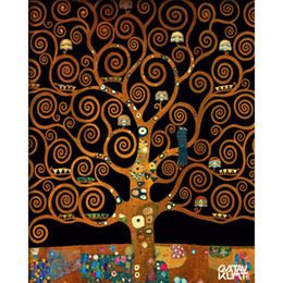 pintura da mão da arte famosa Desconto Famosas artes Gustav Klimt SOB A ÁRVORE DA VIDA Pintados À Mão Pinturas A Óleo Da Reprodução Da Lona Decoração Da Sua Casa