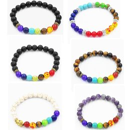 Wholesale Tiger Bracelets Silver - Fashion Wholesale Natural lava volcano, tiger eye, laips, amethyst stone with seven color stone Beaded Bracelet For Good Fortune Gift