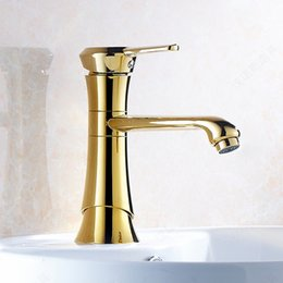Wholesale Nickel Faucet Waterfall - 2017 Hot Sales! Deck Mount Golden Bathroom Basin Faucet Single Lever Waterfall Spout Golden Brass Tap