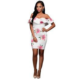 Wholesale Strapless Floral Mini Dress - New Arrival 2017 Summer Off Shoulder Dress Women Sexy Strapless Short Sleeve Bodycon Bandage Elegant Floral Midi Dresses 17411