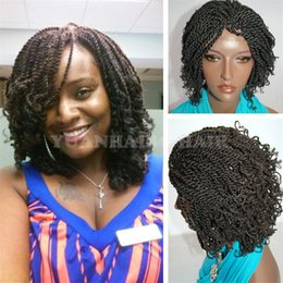 Wholesale Free Wigs For Women - Hot selling 1b natural black synthetic short hair kinky twist braided wigs for black women free shipping