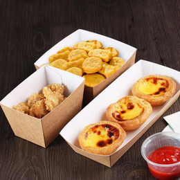 Wholesale Fries Cup - Disposable Kraft Paper French Fries Cup Eco Friendly Fried Chicken Popcorn Dessert Plate Party Food Package ZA3884
