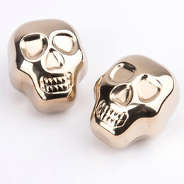 Wholesale metal bar cooler - Stainless Steel Coolers Stone Whiskey Wine Beer Stones Ice Cooler Rock Ice Cube Edible Alcohol Physical Cooled Metal Bar Golden Skull