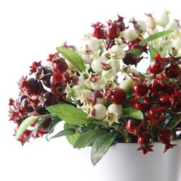 Wholesale Artificial Little Flower - Free Shipping 2017 New Simulated Berry Fruit Little Pomegranate Christmas Flower Accessories Artificial Flower Home Decorative Wholesale