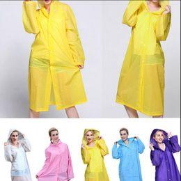Wholesale Outdoor Raincoats - EVA Raincoat Waterproof Rain Coat Hooded Outdoor Hiking Transparent Poncho Portable Environmental Light Raincoat Long Wind Coat OOA2305