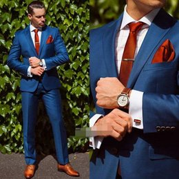 Wholesale One Piece Dresses For Winters - In 2017 the new blue suits for men's wedding dress the groom, holds the formal suit jacket + pants