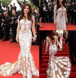 Wholesale Najwa Karam Long Dresses - 2017 Zuhair Murad Najwa Karam Red Carpet V-neck Long Sleeve Celebrity Dresses Backless Sexy Mermaid Appliques Evening prom Gown Custom Made