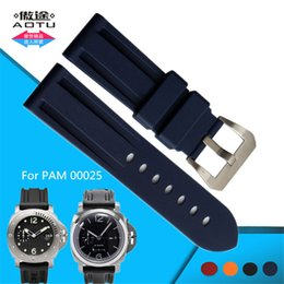 Wholesale Steel Band Tools - 22 24 26mm Soft Rubber Watch Band Stainless Steel Pin Buckle for Panerai PAM00025 PAM00233 PAM00024 Man Watch Strap+Tools