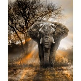 Wholesale Elephant Crafts - DIY Diamond Painting Embroidery 5D Sunset Elephant Pattern Cross Stitch Crystal Square Unfinish Home Bedroom Wall Art Decor Craft Gift