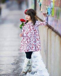 Wholesale Printed Love Skirts - Girl Dresses Spring and Autumn Love Letter Print Long Sleeve Children's Dress Autumn 2017 Girl Skirt