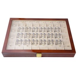 Wholesale Earing Displays - Classic Cufflinks Gift Box 40pairs Storage Case Cufflink Box High Quality Painted Wooden Ring Earing Collection Jewelry Display Box