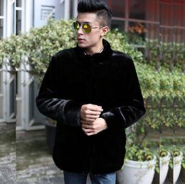 Wholesale Thermal Neck Collar - Black jaqueta de couro masculino warm faux mink fur coat mens leather jacket men coats high quality autumn winter thermal stand collar 4XL