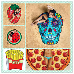Wholesale Design Pizza - 11 Designs Round Donut Pizza Hamburge Watermelon Towels Indian Mandala Beach Throw Tapestry Hippy Boho Beach Towel Yoga Mat DHL FREE