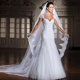 Wholesale Alencon Lace Tulle - White Ivory Cathedral Veil Wedding veil 3m Alencon lace Bridal Veil Wholesale New veu de noiva Wedding Accessories 2017