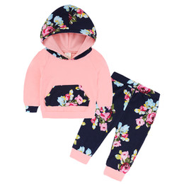 Wholesale Boutique For Sale - Kids Clothes 2017 Autumn Winter Baby Clothing Sets Floral Hooded Tops+Pants 2PCS Girls Boutique Outfits Baby Clothes Set for Sale