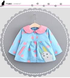 Wholesale Baby Boy Tench Coat - Hot Selling Baby Kids boy 100% cotton Big dot cartoon rabbit windbreaker coat long sleevebaby kids coat 2 colors free shipping