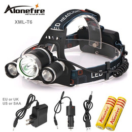 Wholesale Lamp For Battery Light - AloneFire HP03 good price 9000 Lumen 3T6 Boruit Headlamp Outdoor Light Head Lamp HeadLight Rechargeable for 2x 18650 Battery Fishing Camping